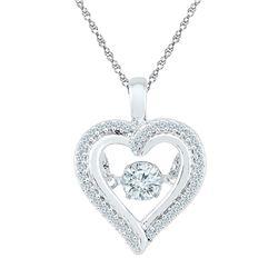 0.25 CTW Moving Twinkle Diamond Heart Outline Pendant 10kt White Gold