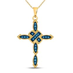 0.21 CTW Blue Color Enhanced Diamond Cross Pendant 10kt Yellow Gold