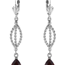 Genuine 3 ctw Garnet Earrings 14KT White Gold