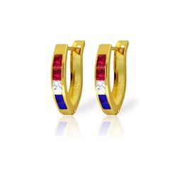Genuine 1.28 ctw Ruby, White Topaz & Sapphire Earrings 14KT Yellow Gold