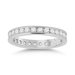 1 CTW Diamond Eternity Wedding Ring 14kt White Gold