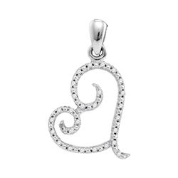 0.10 CTW Diamond Curled Heart Pendant 10kt White Gold