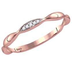 0.02 CTW Diamond Contoured Stackable Ring 14kt Rose Gold