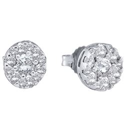 0.50 CTW Diamond Flower Cluster Earrings 14kt White Gold
