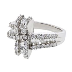1.29 CTW Diamond Ring 18K White Gold