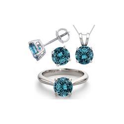 14K White Gold SET 6.0CTW Blue Diamond Ring, Earrings, Necklace