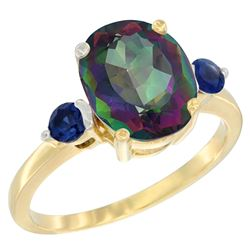 2.64 CTW Mystic Topaz & Blue Sapphire Ring 14K Yellow Gold