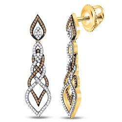 1.50 CTW Brown Diamond Dangle Earrings 10kt Yellow Gold