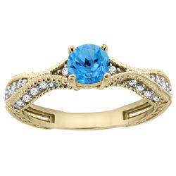 0.81 CTW Swiss Blue Topaz & Diamond Ring 14K Yellow Gold