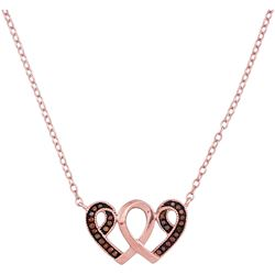 0.10 CTW Red Color Enhanced Diamond Heart Necklace 10kt Rose Gold