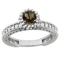 0.91 CTW Quartz & Diamond Ring 14K White Gold