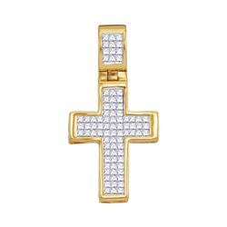 0.65 CTW Diamond Roman Cross Religious Pendant 10kt Yellow Gold
