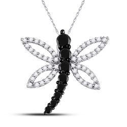 0.50 CTW Black Color Enhanced Diamond Dragonfly Insect Bug Flying Pendant 10kt White Gold