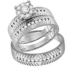 0.75 CTW Diamond Cluster Matching Bridal Wedding Ring 14kt White Gold