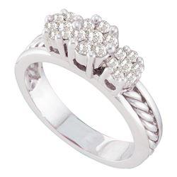 0.50 CTW Diamond Triple Flower Cluster Rope Ring 14kt White Gold