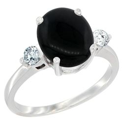 1.75 CTW Onyx & Diamond Ring 10K White Gold
