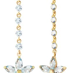 Genuine 4.8 ctw Aquamarine Earrings 14KT Yellow Gold