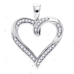 0.10 CTW Diamond Heart Pendant 10kt White Gold