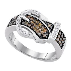 0.50 CTW Brown Diamond Belt Buckle Ring 10kt White Gold