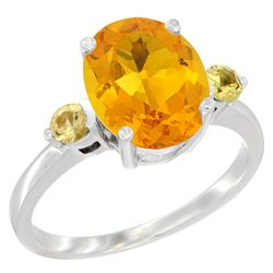 2.64 CTW Citrine & Yellow Sapphire Ring 14K White Gold