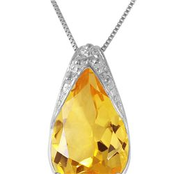 Genuine 5 ctw Citrine Necklace 14KT White Gold