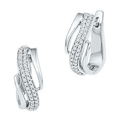 0.25 CTW Diamond Diagonal Double Row Hoop Earrings 10kt White Gold