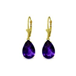 Genuine 10 ctw Amethyst Earrings 14KT Yellow Gold