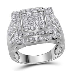 2.25 CTW Diamond Square Frame Cluster Ring 10kt White Gold