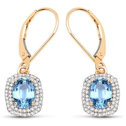 2.36 ctw Sapphire Blue & Diamond Earrings 14K Yellow Gold