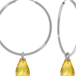Genuine 4.5 ctw Citrine Earrings 14KT White Gold