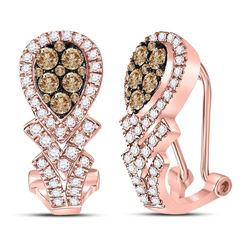 1 CTW Brown Diamond Hoop Earrings 10kt Rose Gold