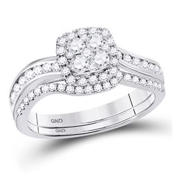 0.79 CTW Diamond Bridal Wedding Engagement Ring 14kt White Gold