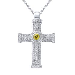 1.49 CTW Yellow Sapphire & Diamond Necklace 14K White Gold