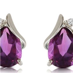 Genuine 3.16 ctw Amethyst & Diamond Earrings 14KT White Gold