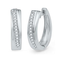 0.16 CTW Diamond Single Row Hoop Earrings 10kt White Gold