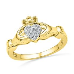 0.06 CTW Diamond Claddagh Hands & Heart Cluster Ring 10kt Yellow Gold