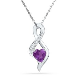 0.05 CTW Lab-Created Amethyst Heart Solitaire Infinity Pendant 10kt White Gold