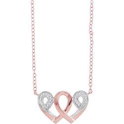 0.05 CTW Diamond Interwoven Heart Infinity Love Pendant 10kt Rose Gold