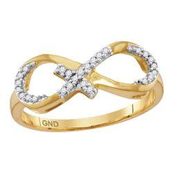 0.10 CTW Diamond Infinity Cross Ring 10kt Yellow Gold