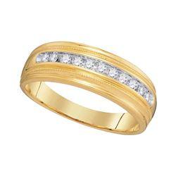 0.25 CTW Diamond Single Row Milgrain Wedding Ring 10kt Yellow Gold
