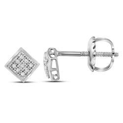 0.05 CTW Diamond Square Cluster Stud Earrings 10kt White Gold