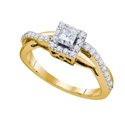 0.50 CTW Diamond Solitaire Halo Bridal Wedding Engagement Ring 14kt Yellow Gold