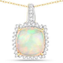 3.12 ctw Ethiopian Opal & Diamond Pendant 14K Yellow Gold
