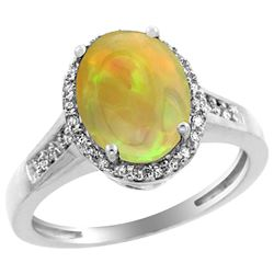 1.97 CTW Ethiopian Opal & Diamond Ring 10K White Gold
