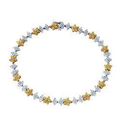 3.31 CTW Yellow Sapphire & Diamond Bracelet 14K 2Tone Gold