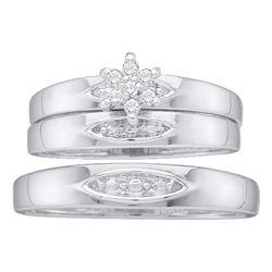0.07 CTW Diamond Cluster Matching Bridal Wedding Ring 10kt White Gold