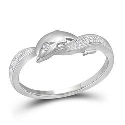 0.04 CTW Diamond Dolphin Ring 10kt White Gold