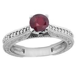 0.75 CTW Ruby & Diamond Ring 14K White Gold