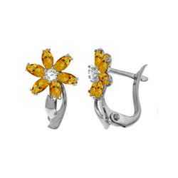 Genuine 1.10 ctw Citrine & Diamond Earrings 14KT White Gold