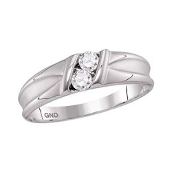 0.33 CTW Diamond 2-stone Channel-set Wedding Ring 10kt White Gold